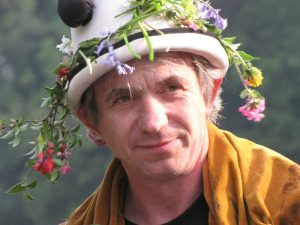 tony with flowers in hat