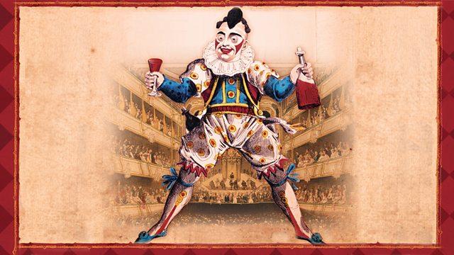 Grimaldi illustration with theatre background