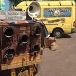 Raree Man cart and yellow van