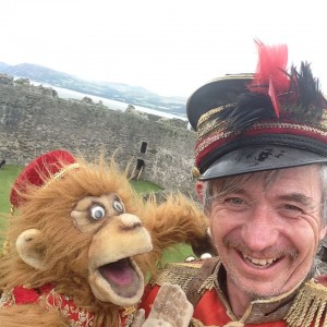 Uncle Tacko and Ginger on castle battlements