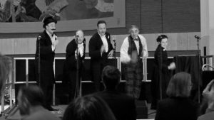"""There Will be Fun"" gang performing at The British Library"