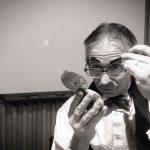 Tony making-up at the British Library as Dan Leno