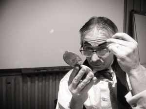 Tony making-up at the British Library as Dan Leno